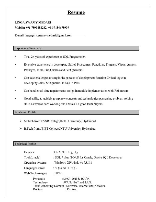Oracle Resume Sw New 2exp