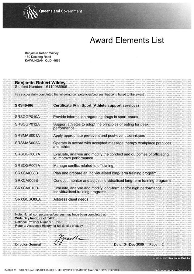 Certificate IV in Sport (Athlete support services) SRS40406 TAFE Transcript P2