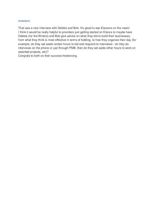 Elance Blog Story about ABC Appearance Slide 2