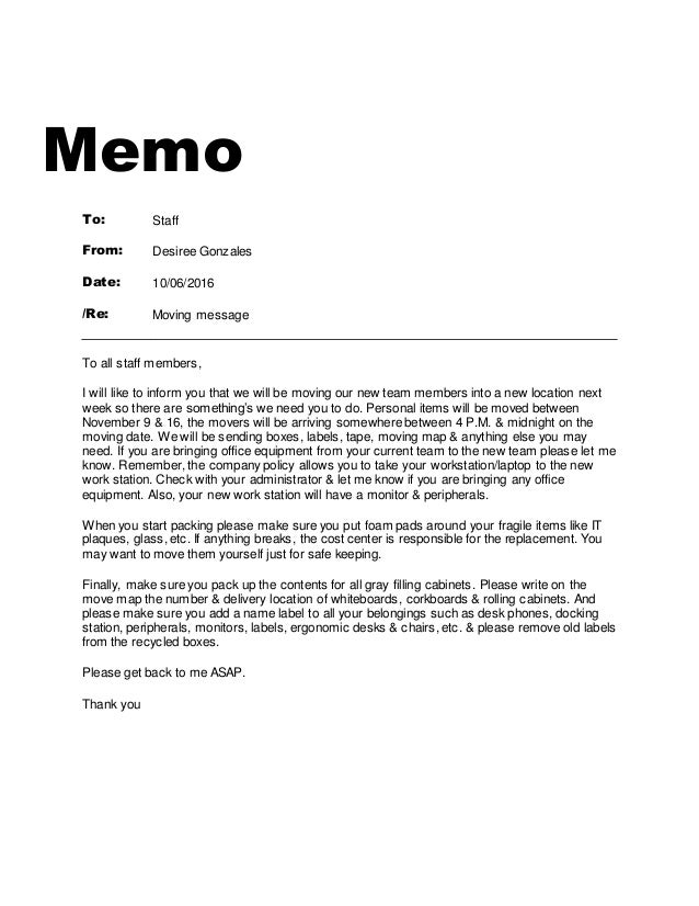How to Write a Memo to Staff