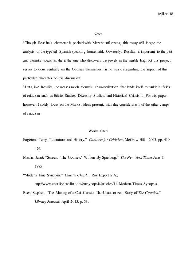 the goonies marxist essay 18