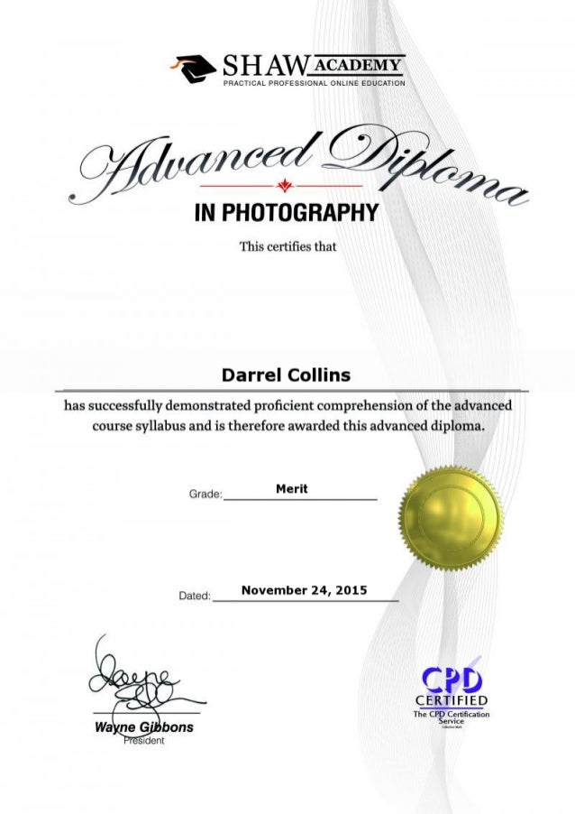 advanced photography certificate