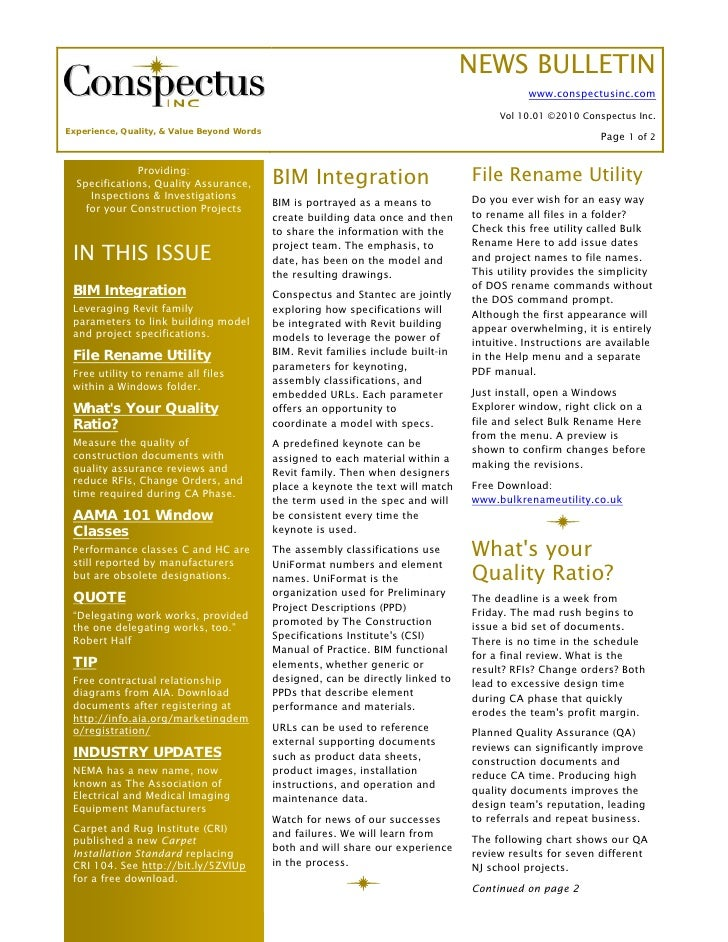 Conspectus january 2010 news bulletin publicscrutiny Choice Image
