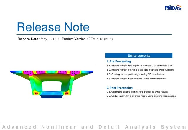 A d v a n c e d N o n l i n e a r a n d D e t a i l A n a l y s i s S y s t e mRelease NoteRelease Date : May, 2013 / Prod...