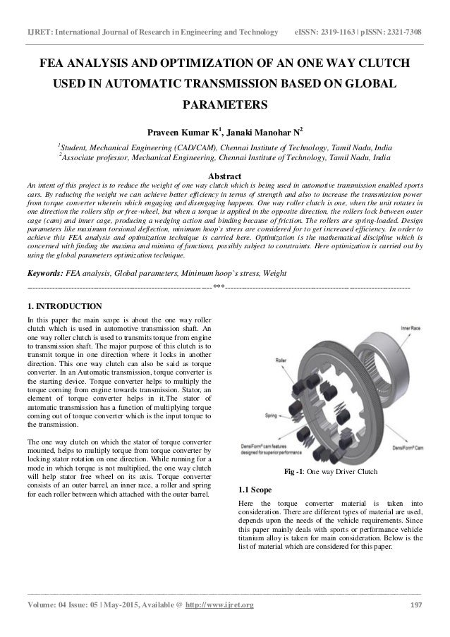 Fea analysis and optimization of an one way clutch used in