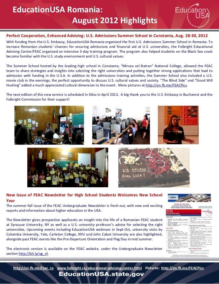 EducationUSA Romania:                 August 2012 HighlightsPerfect Cooperation, Enhanced Advising: U.S. Admissions Summer...