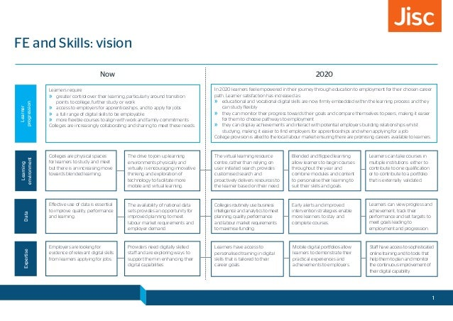 FE and Skills: vision Now 2020 Learners require »» greater control over their learning, particularly around transition poi...
