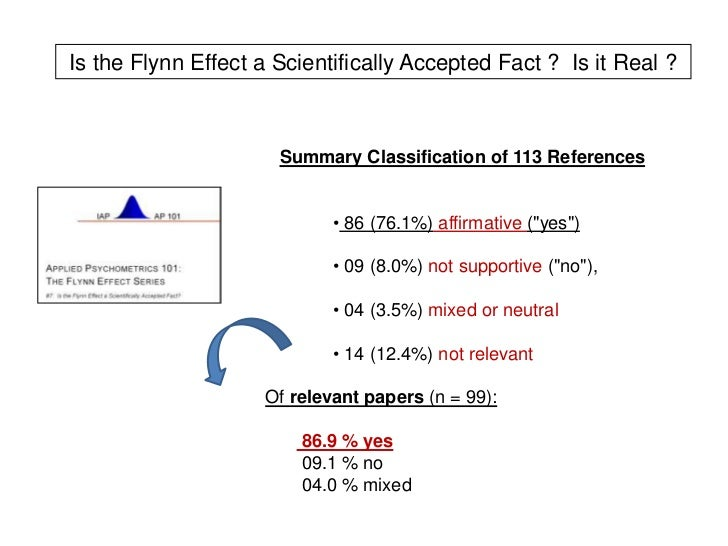 changes are made in the norms of iq tests due to the flynn effect When intelligence quotient (iq) tests are initially thus one way to see changes in norms over time is to by the flynn effect are due in part.
