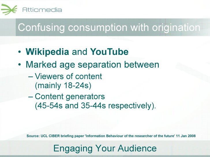 Confusing consumption with origination <ul><li>Wikipedia  and  YouTube   </li></ul><ul><li>Marked age separation between  ...