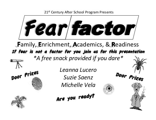 If fear is not a factor for you join us for this presentation   *A  free  snack  provided  if  you  dare*  ...