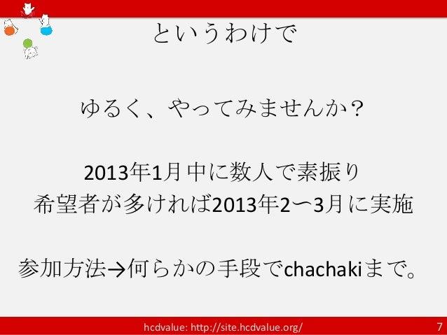 というわけで   ゆるく、やってみませんか?  2013年1月中に数人で素振り希望者が多ければ2013年2〜3月に実施参加方法→何らかの手段でchachakiまで。       hcdvalue: http://site.hcdvalue.or...