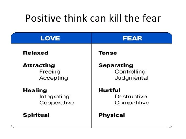 Positive think can kill the fear