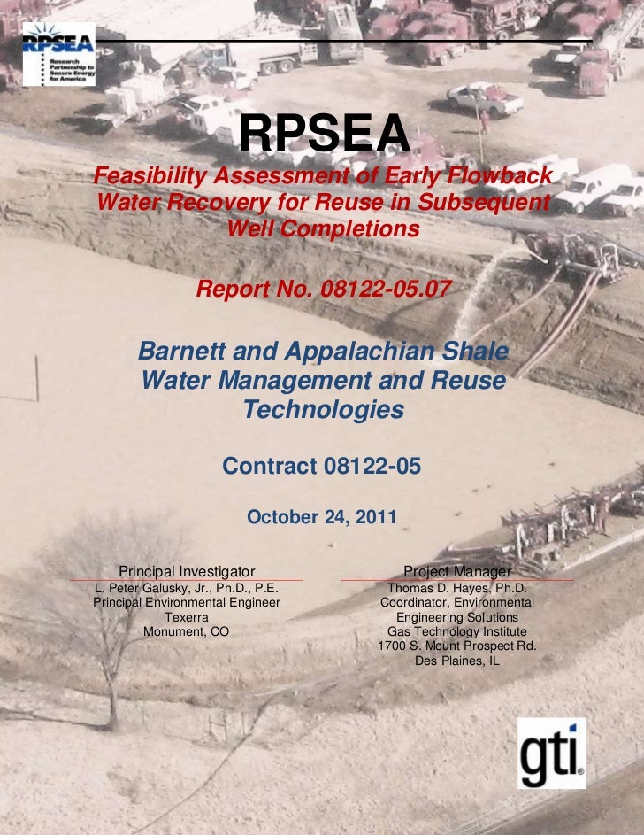 RPSEAFeasibility Assessment of Early FlowbackWater Recovery for Reuse in Subsequent             Well Completions          ...