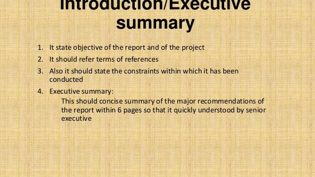Introduction/Executive Summary Background Outline Of Project  Methodology/method Of Analysis Overview Of Alternatives Conclusion  Recommendation; 9.  Project Summary Report Example