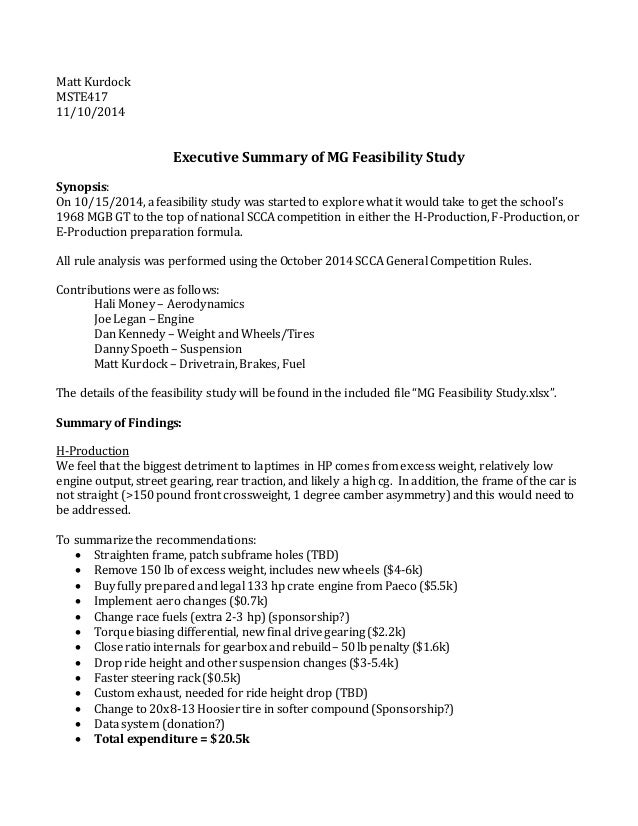 feasibility study report for project