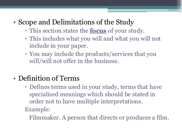 Sample Scope and Delimitation