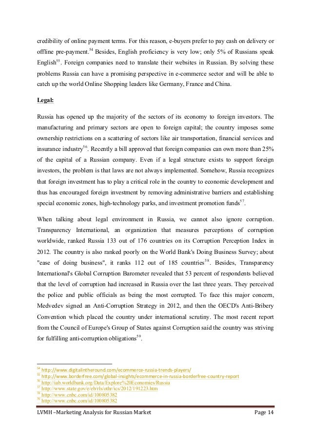 LVMH–MarketingAnalysisforRussianMarket Page14  credibility of online payment terms. For this reason, e-buyers pre...