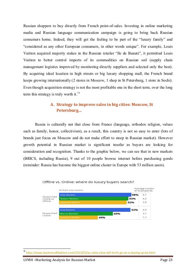 LVMH–MarketingAnalysisforRussianMarket Page23  Russian shoppers to buy directly from French point-of-sales. Inves...