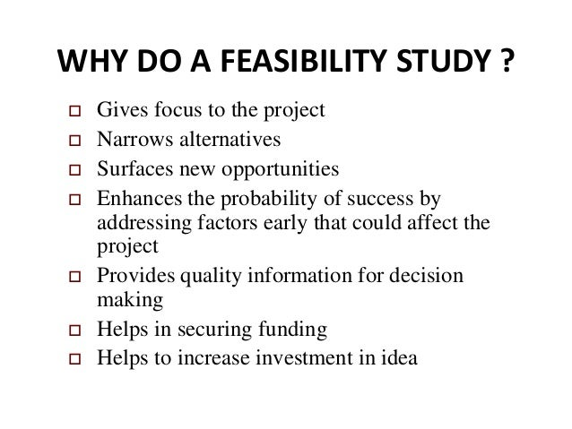 Feasibility study preparation and analysis
