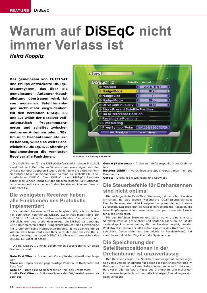 FEATURE            DiSEqC     Warum auf DiSEqC nicht immer Verlass ist Heinz Koppitz    Das gemeinsam von EUTELSAT und Phi...