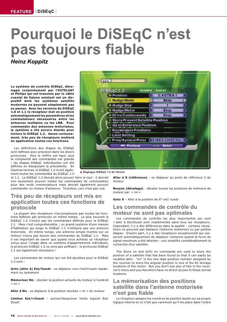 FEATURE            DiSEqC     Pourquoi le DiSEqC n'est pas toujours fiable Heinz Koppitz    Le système de contrôle DiSEqC, ...