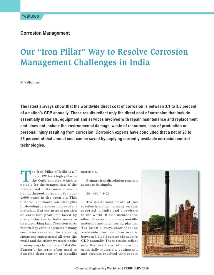 """Features   Corrosion Management   Our """"Iron Pillar"""" Way to Resolve Corrosion Management Challenges in India  M Valliappan ..."""