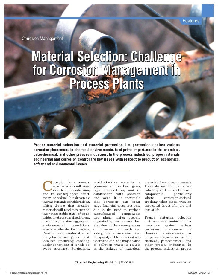 Features           Corrosion Management                    Material Selection: Challenge                    for Corrosion ...