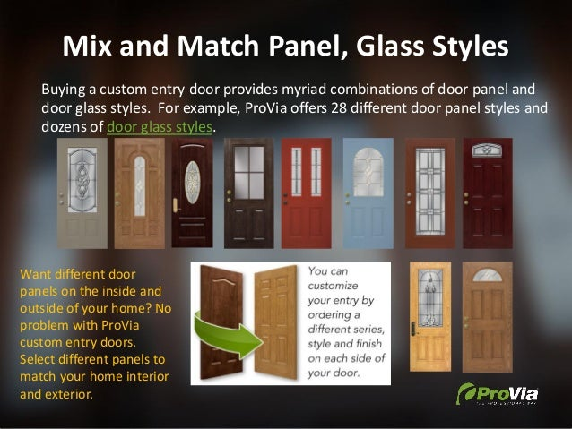 Mix and Match Panel, Glass Styles Buying a custom entry door provides myriad combinations of door panel and door glass sty...
