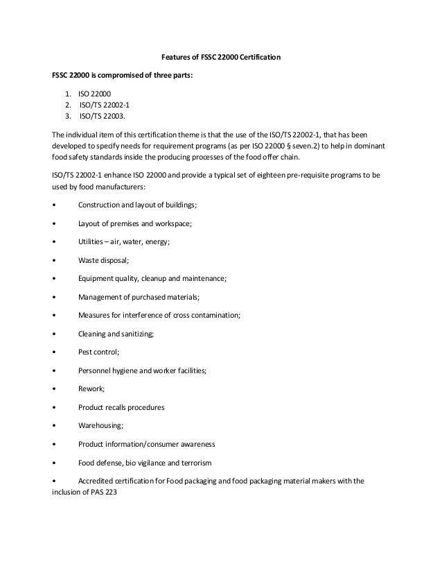 Features and requirements of FSSC 22000