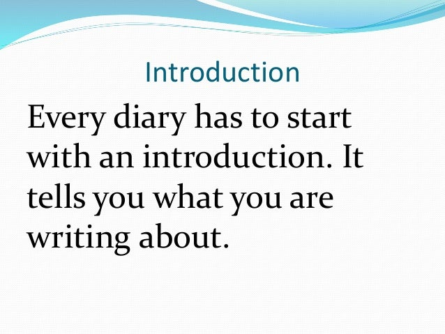 Writing a diary entry powerpoint