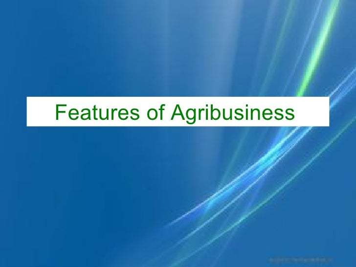 Features of Agribusiness
