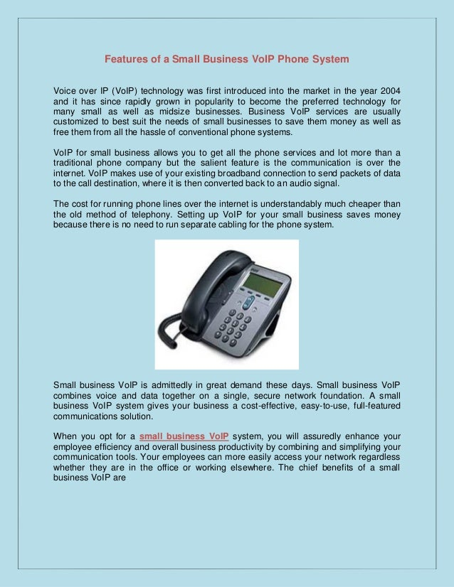 Features Of A Small Business Voip Phone System