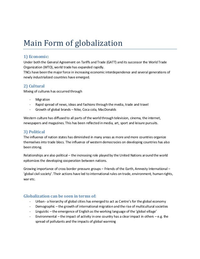 main features of globalisation Pessimistic view: new form of imperialism, cultural levelling & standardisation  economic globalization main features ▫ growing number of trans-national direct.