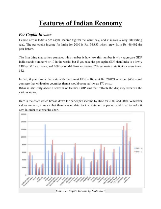 Features of Indian EconomyPer Capita IncomeI came across India's per capita income figures the other day, and it makes a v...