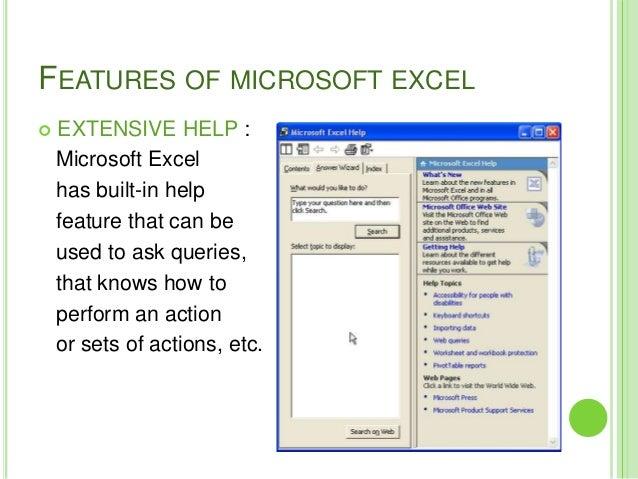 features of microsoft office excel