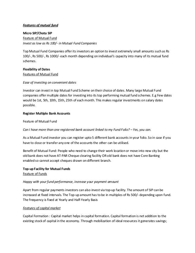 features of mutual funds pdf