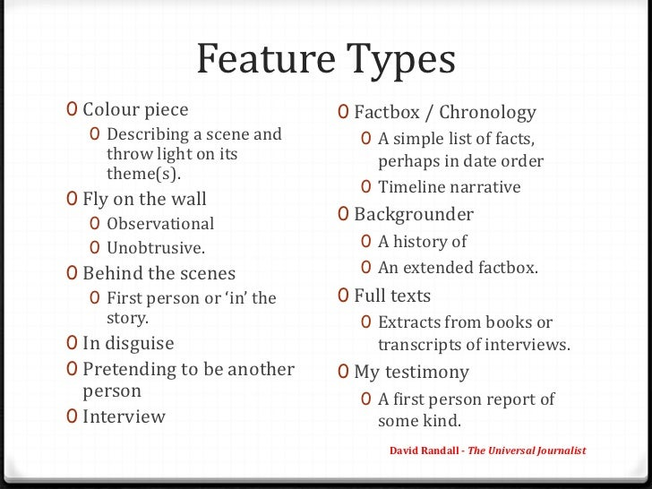 types of feature articles pdf