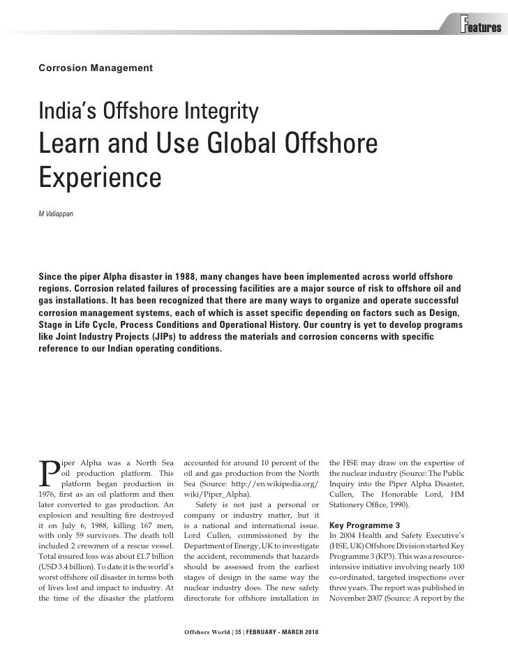 Features Corrosion Management    India's Offshore Integrity Learn and Use Global Offshore Experience M Valiappan     Since...