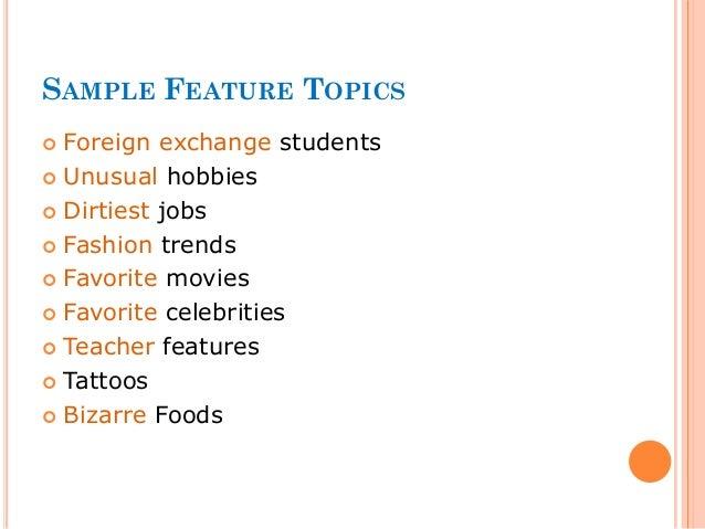 Feature Writing Basics