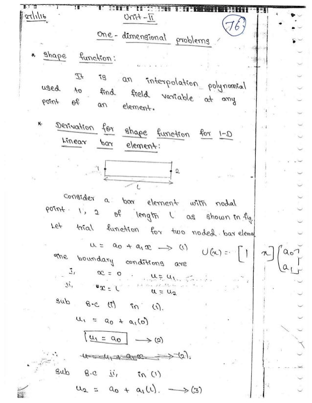 ME6603 - FINITE ELEMENT ANALYSIS UNIT - II NOTES AND QUESTION BANK