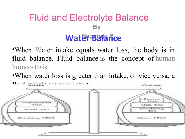 Fluid and Electrolyte Balance By Nagaraju BWater Balance •When Water intake equals water loss, the body is in fluid balanc...