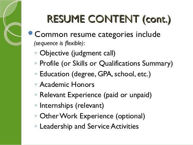 8 common resume categories
