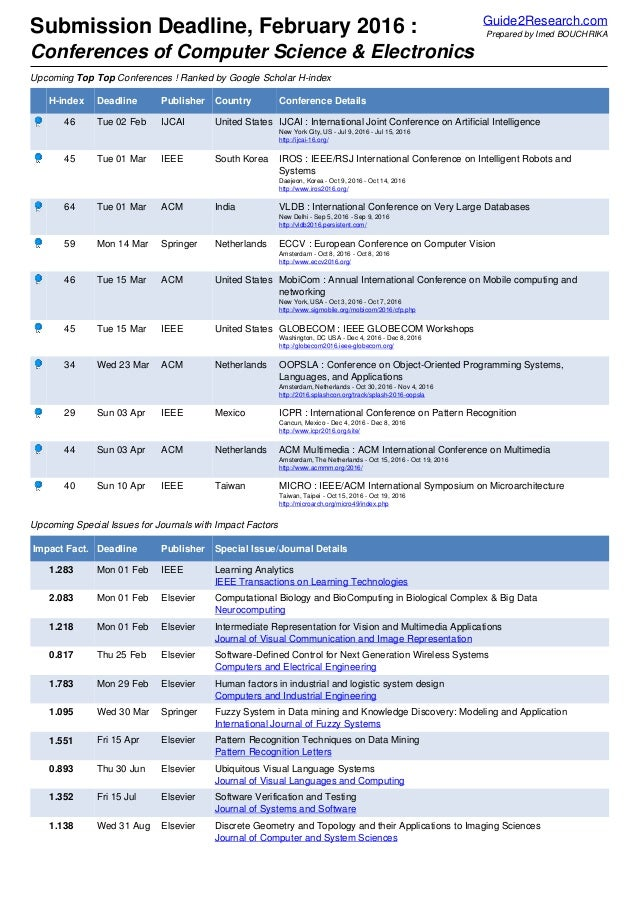 Submission Deadline, February 2016 : Conferences of Computer Science & Electronics Guide2Research.com Prepared by Imed BOU...