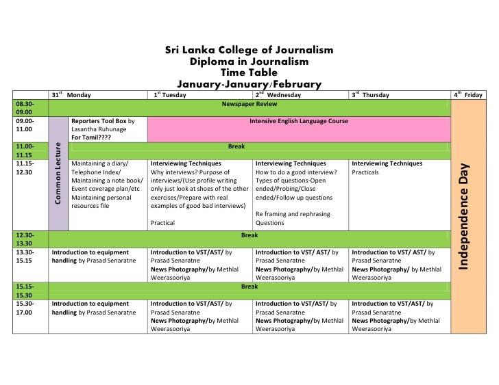 Sri Lanka College of Journalism                                                               Diploma in Journalism       ...