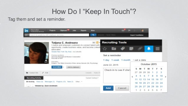 """How Do I """"Keep In Touch""""? Tag them and set a reminder."""
