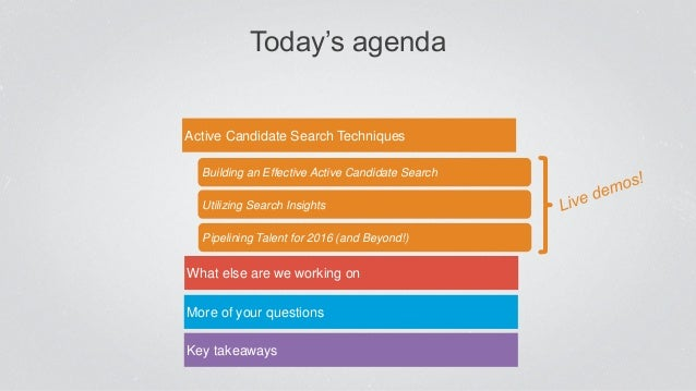 Today's agenda Active Candidate Search Techniques More of your questions Key takeaways Utilizing Search Insights Building ...