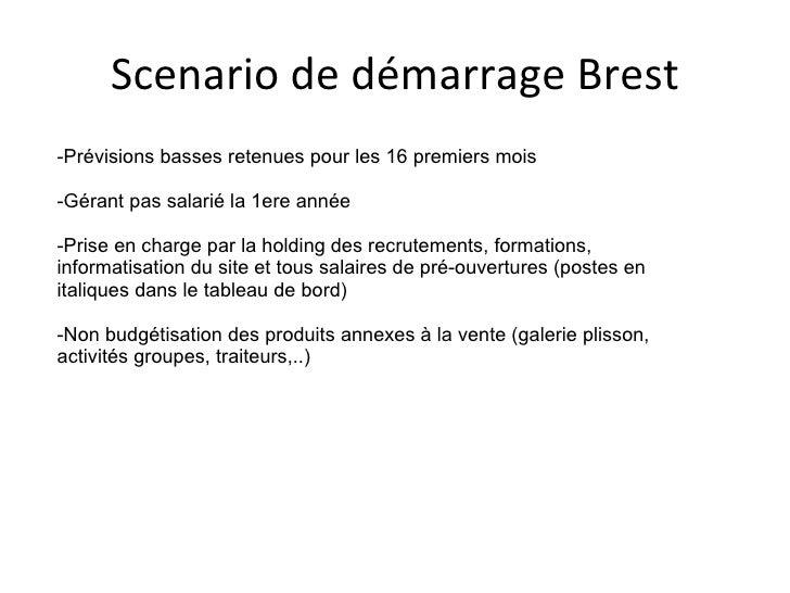 Scenario de démarrage Brest -Prévisions basses retenues pour les 16 premiers mois -Gérant pas salarié la 1ere année -Prise...