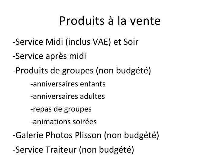 Produits à la vente <ul><li>-Service Midi (inclus VAE) et Soir </li></ul><ul><li>-Service après midi </li></ul><ul><li>-Pr...