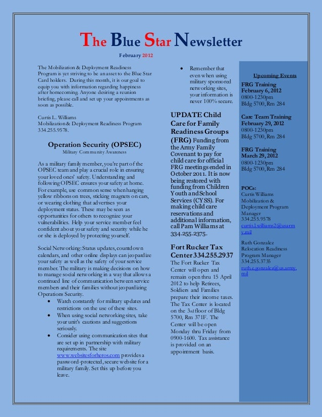 The Blue Star Newsletter February 2012 The Mobilization & Deployment Readiness Program is yet striving to be an asset to t...