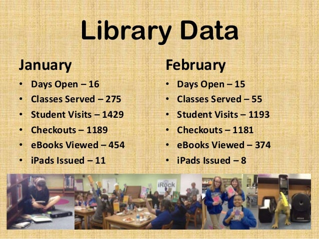 Library Data January  February  • • • • • •  • • • • • •  Days Open – 16 Classes Served – 275 Student Visits – 1429 Checko...